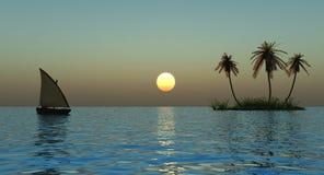 Island and boat Stock Photo