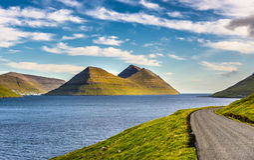 Island of Bordoy viewed from island of Kalsoy, Faroe Islands