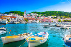 Island Brac in Croatia, Mediterranean. Seafront scenery of small mediterranean village Pucisca on Island Brac, tourist summer resort in Croatia, Europe Royalty Free Stock Image