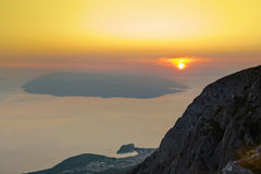 Island Brac and sunset at Biokovo, Croatia Stock Images