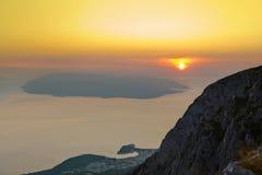 Island Brac and sunset at Biokovo, Croatia Stock Images