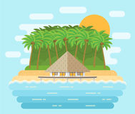 Island with bungalow on beach in flat design. Vector illustratio Royalty Free Stock Image
