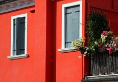 Island of Burano House with the Red Wall Stock Photography