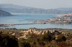 The island of Caprera and Maddalena. Panorama of the Maddalena from island of Caprera Stock Images