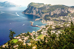 Island of Capri,Italy. Beautyful  Island of Capri,Italy  in bird eye view Stock Photography