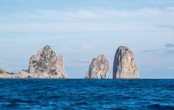 Island of Capri, Italy. Faraglioni, famous sea stacks, off the coast. stock images