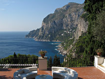 Island Capri - A Nice Terrace View. Dreamy view toward the cliffs and Via Krupp from a nice terrace in island Capri Royalty Free Stock Photo