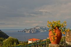 The island of Capri seen from the coast of Sorrento in Italy. royalty free stock photos