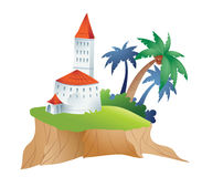 Island and castle vector illustration