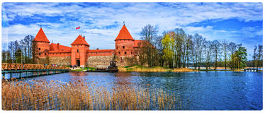 Island castle in Trakai, one of the most popular touristic attra Stock Photos