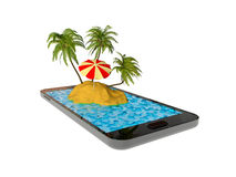 Island in cellphone Stock Photography