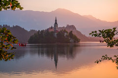 An Island with Church in Bled Lake, Slovenia at Sunrise Stock Image