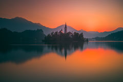 An Island with Church in Bled Lake, Slovenia at Sunrise Stock Photography