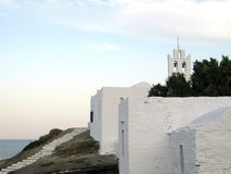 Island Church During the Late Afternoon. A view of an island church during the late afternoon, island of Sifnos, Greece royalty free stock image