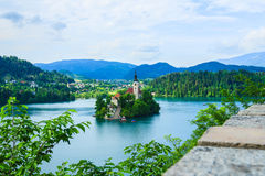 Island with church in middle of lake Bled Stock Photo