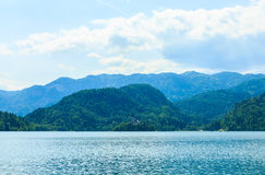 Island with church in middle of lake Bled Royalty Free Stock Image