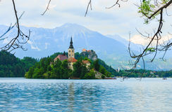 Island with church in middle of lake Bled Stock Images