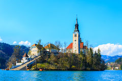 Island with church in middle of lake Bled Royalty Free Stock Photography
