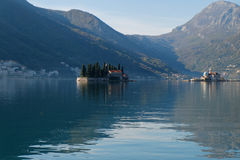 Island church in perast kotor bay Royalty Free Stock Photos
