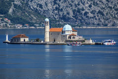 Island church in perast kotor bay montenegro Stock Photography
