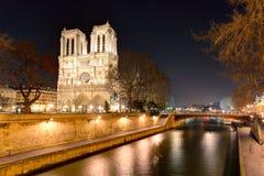 Island Cite with cathedral Notre Dame de Paris Stock Photos