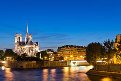 Island Cite with cathedral Notre Dame de Paris Royalty Free Stock Images