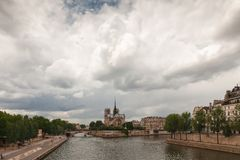 Island Cite with cathedral Notre Dame de Paris, Paris Stock Image