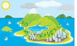 Island city stock illustration