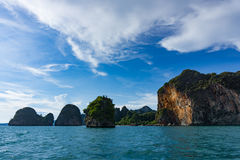 Island cliffs in turquois sea and blue sky. Railay Thailand royalty free stock photography