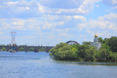 Island with cloister on the river Dniepr in Royalty Free Stock Images