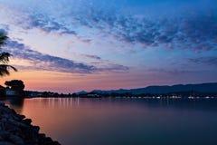 Island Coast Sunset Sea, Beautiful Sky. Tropical Seascape, Coast Royalty Free Stock Photography
