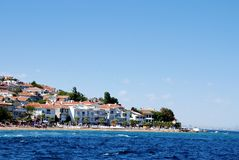 Island  coastline. Scenic view of coastline of  island with calm blue sea in Istanbul, Turkey Stock Photography