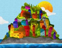 Island with colorful houses Stock Images