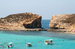Island of Comino was once popular with marauders and pirates due Royalty Free Stock Photos
