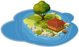 Island concept, for computer games and applications, hut, derv, rock, sea, card, banner, vector, illustration. Island concept, for computer games and stock illustration