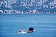 Saint George Benedictine monastery in Perast, Kotor bay, Montenegro royalty free stock image