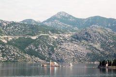 Saint George Benedictine monastery in Perast, Kotor bay, Montenegro stock photos