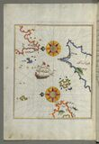 The island of Cos (Stancho, İstanköy) facing the Anatolian mainland from Book on Navigation, Walters Art Museum Ms. W. Royalty Free Stock Photo
