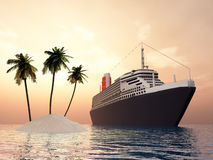 Island and Cruise Ship Stock Image