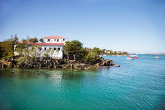 Island in Cruz Bay. The island of Steven's Cay in Cruz Bay, St. John stock photography