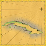 Island of Cuba. Old hand drawn map of Cuba Stock Images