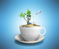 Island in a cup of coffee Concept of travel 3d render on blue Stock Image