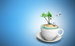 Island in a cup of coffee Concept of travel 3d render on blue Royalty Free Stock Photography