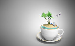 Island in a cup of coffee Concept of travel 3d render on grey Royalty Free Stock Image