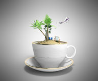 Island in a cup of coffee Concept of travel 3d render on grey Royalty Free Stock Photo