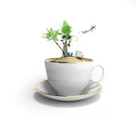 Island in a cup of coffee Concept of travel 3d render on white Stock Photos