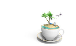 Island in a cup of coffee Concept of travel 3d render on white Royalty Free Stock Photography