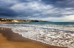 The island of Cyprus, the beach is a coral bay, in cloudy weathe Stock Photo