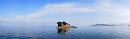 The Island of Dali. It's a small island in a beautiful ErHai lake which is beside a old town called dali of china.There is a temple in island stock photo