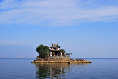 The Island of Dali. It's a small island in a beautiful ErHai lake which is beside a old town called dali of china.There is a temple in island stock image